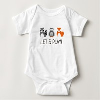 "Forest Animals Raccoon Fox Owl ""Let's Play!"" Baby Bodysuit"