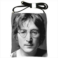 John Lennon Beatles Imagine Black Calfskin Leather & Fabric Large Crossbody Shoulder Bag Purse Tote Handbag Custom Made 41223404