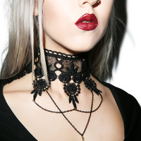 Western Fashion Persephone Lace Necklace Black One