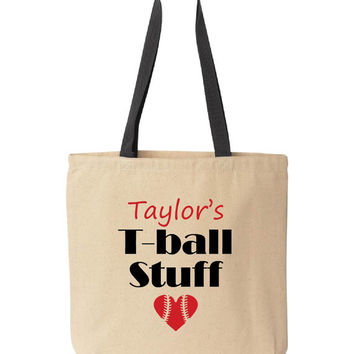 Personalized T-ball Mom Tote Bag, Baseball Mom Tote Bag, Softball Mom Tote Bag. Personalized. Baseball gift idea. Pink pig printing.