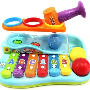 Baby Toddlers Musical Toy Xylophone Piano Pounding Bench with Balls and Hammer Play Set