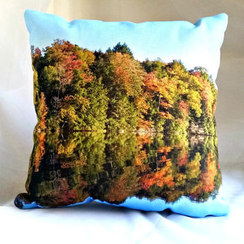 Perfect Reflection Throw Pillow, Blue Green Orange Pillow Cover and Insert,Cottage Chic Home Accent Pillow