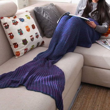 Handmade Knitted Sofa Bedding Mermaid Tail Blanket Home Gift