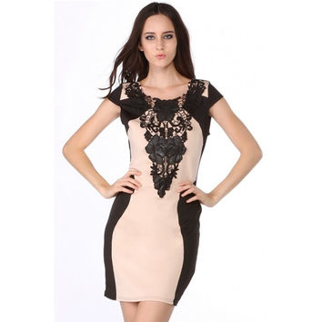 New Elegant Women Sleeveless Lace Neck Dress O-neck Print Backless Evening Party Dress