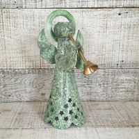 Brass Angel Candle Holder Angel Candlestick Holder Christmas Metal Figurine Christmas Angel Brass Candlestick Holder Brass Christmas Decor