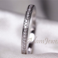 Solid 14K White Gold MILGRAIN  Diamond Wedding Ring /Engagement Ring/ Matching Band/ Half Eternity Band/ Promise Ring