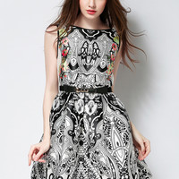 Printed Sleeveless Belted A-Line Mini Dress
