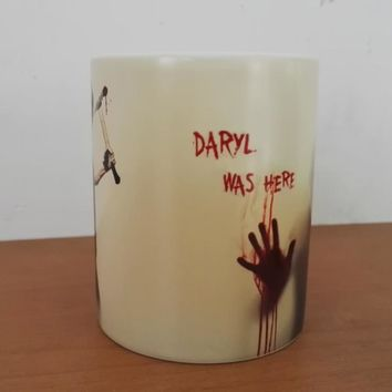 Newest Design Zombie  Magic Color Changing Coffee Mug printing with Walking Dead Bloody hands Daryl Tea cup