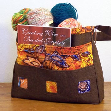 Tote: Upcycled Sunbrella Awning Fabric with Vintage Orange Barkcloth, CLEARANCE, Hippie Tote Bag, Book Bag, Knitting Tote
