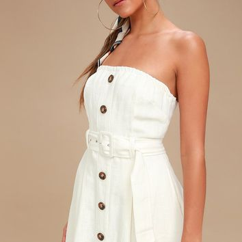 Zoie White Straplesss Belted Midi Dress