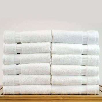 Hotel Quality Premium Dobby Border Luxury Hand Towels (16x30 inches) 4.5 Lb/Dz Bright White