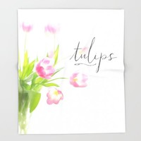 Pink tulips Throw Blanket by Sylvia Cook Photography