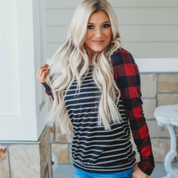 Striped Sweater with Lumberjack Sleeves | Buffalo Plaid Sleeves