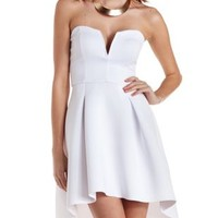White High-Low Strapless Skater Dress by Charlotte Russe