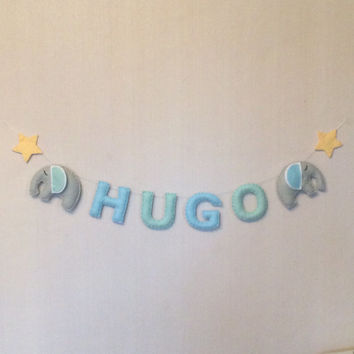 Name Sign - Up to 5 letters  - Name Plaque - Mini Bunting -Personalised Bunting - Sleepy Elephants - Kids Room Decor - Nursery Decor