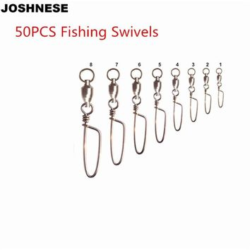JOSHNESE 50Pcs/lot Ball Bearing Curve Type Pin  Fishing Swivels Snap Rolling Swivel Connector With Tracking no.