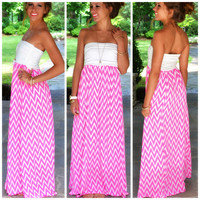 Kokomo Hot Pink Chevron Maxi Dress