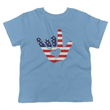 ASL I Love You American Flag Sign Language Toddler T-Shirt