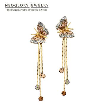 Neoglory Butterfly Long Tassel Dangle Drop Earrings Bridesmaid Teen Girl 2017 New Bday Birthstone Gifts Fashion Jewelry JS6