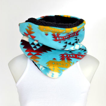 Boho Cowl, Winter Neck warmer, Womens Infinity Scarf, Reversible Scarf, Gift for Her, Native print Scarf, Cowl Scarf, Winter Scarf
