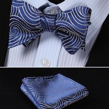 BF429B Blue Gray Floral 100%Silk Jacquard Woven Men Butterfly Self Bow Tie BowTie Pocket Square Handkerchief Hanky Suit Set