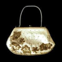 Gold Silk Glass Bead Purse Signed Lightstone Hubbard London