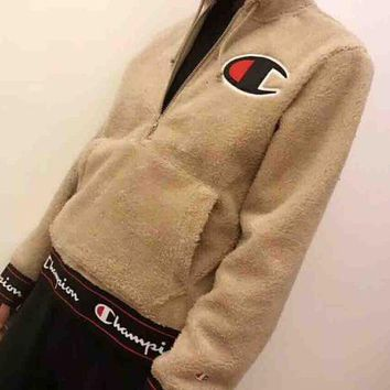 CREYV9O Champion 2018 New Teddy Velvet Thickened Hooded Sweatshirt F-MG-FSSH Khaki