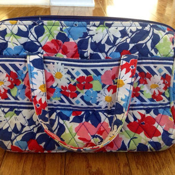 RARE Vera Bradley Summer Cottage Insulated Lunch Bag- Box, Blue, Pink, Yellow, Green, White, Floral, Quilted