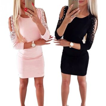 Women pink/black fashion Pullover Ladies Lace Crew Neck Off Shoulder mini Dress long sleeve Bodycon Evening Party Autumn spring