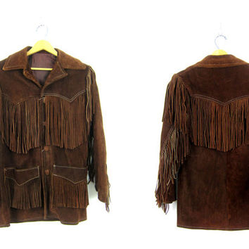 Vintage Brown suede leather fringe coat Fringed Leather jacket Made in Mexico Casa Mercado Fashions Western jacket Women's Size Small