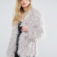 Religion Quartz Coat In Faux Mongolian Fur at asos.com