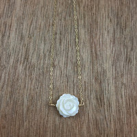 14k gold filled white Mother of Pearl shell rose flower necklace / minimalist / June birthstone / bridesmaid necklace / dainty necklace