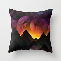 Whimsical mountain nights Throw Pillow by HappyMelvin