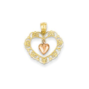 14k Yellow and Rose Gold, Two Tone Filigree Double Heart Pendant