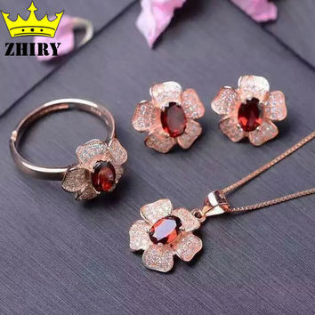 Natural Garnet Gemstone Jewelry Set Genuine 925 Sterling Silver Necklace Pendant Ring Earring