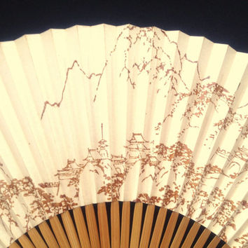 Japanese Hand Fan - Paper Fan - Japanese Vintage Fan - Sensu - Shan shui Painting The 'Mountain-Water' Chinese Painting Style (F99)