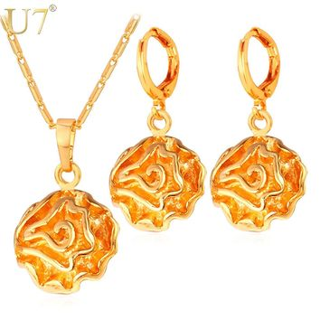 U7 Indian Jewelry Set Dubai Gold Color Jewelry Trendy Party Flower Earrings And Necklace Set For Women Gift S694