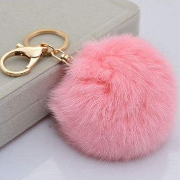 Cute Genuine Leather Rabbit fur ball plush key chain for car key ring Bag Pendant car keychain = 5987871169
