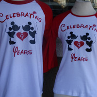 Free Shipping Disney Inspired Couples Baseball 3/4 long sleeve T Shirts Kissing Mickey and Minnie Together Since raglan shirts.