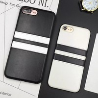 Sport Brand Retro Leather Case Cover For iPhone 7 7plus Case Luxury 6s Series Soft Black White Stripe Case For iphone 5 5s SE