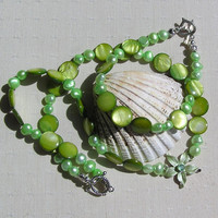 "Shell Necklace & Bracelet Set, Green Freshwater Pearl and Apple Green Mother of Pearl ""Alpine Meadow"""