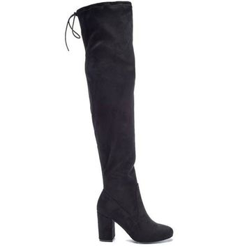 ONETOW Chinese Laundry Kiara -Black Suede High-Heel Boot