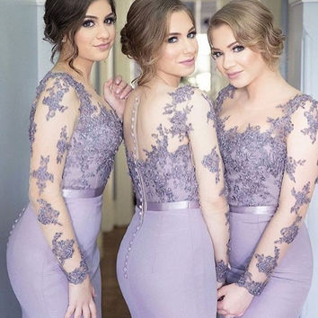 Mermaid Long Bridesmaid Dresses 2017 Long Sleeves Beaded Lace Appliques Formal Wedding Party Dresses Sheer Brides Maid Dress