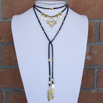 Gold Diamond Beaded Lariat