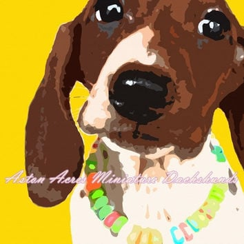 Dachshund Print Photography - Bright Yellow Wall Art by AstonAcresDachshunds