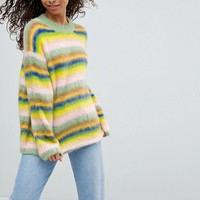 ASOS PETITE Oversized Sweater Fluffy Rainbow Stripe at asos.com