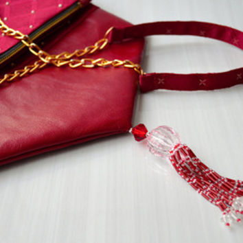 AURIGA 2 crossbody foldover handbag - Genuine leather with handmade beadworking for fabric and tassel.