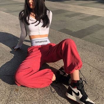 Women Autumn Personality Letter High Waist Elastic Corduroy Loose Leisure Pants Trousers