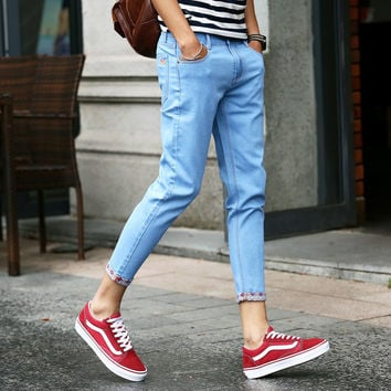 Summer Korean Skinny Pants Men Slim Stretch Jeans [6528671811]