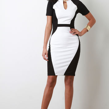 Hardware Keyhole Colorblock Bodycon Dress | UrbanOG